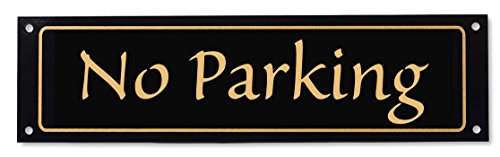 - The Original Property Postings No Parking Sign - Classy Look, Durable Steel, Gloss Black Available