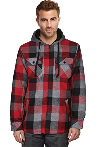 9 Crowns Essentials Sherpa Lined Plaid Flannel Hoodie Jacket-Burg/Blk-Large