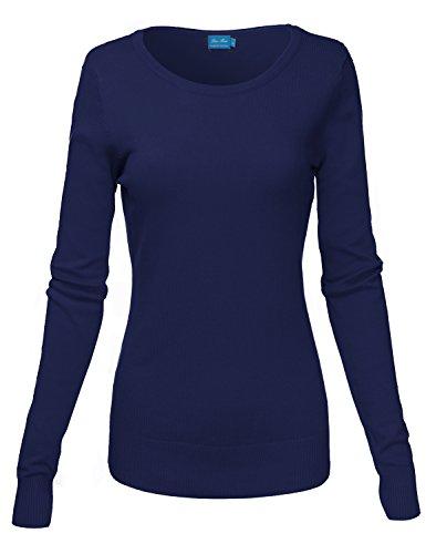 Basic Crew Neck Long Sleeve Soft Sweater Knit Tops, Navy (012), Large