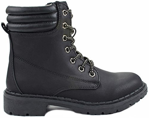 JJF Shoes Women Broadway Black Lace up Faux Nubuck Padded Collar Ankle Military Combat Boots-7