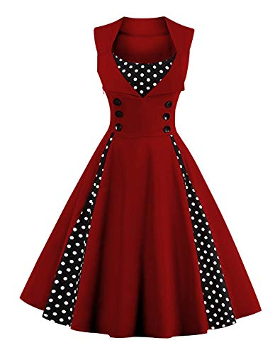 Killreal Women's Vintage Retro 1950s Polka Dot Printed A-Line Sleeveless Button Christmas Cocktail Party Casual Tea Dress Wine Red ()