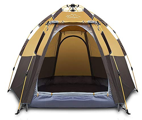 Toogh 3-4 Person Camping Tent Backpacking Tents Hexagon Waterproof Dome Automatic Pop-Up Outdoor Sports Tent Camping Sun Shelters