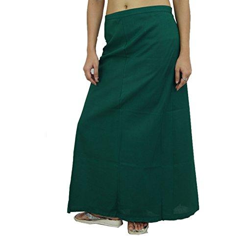 Sólido enaguas Bollywood Indian forro de algodón Para Sari Verde oscuro