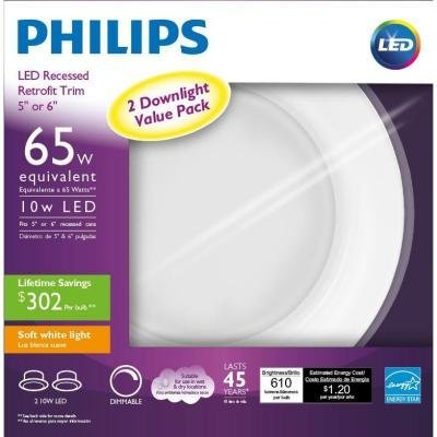Philips 2 LED Downlight Value Pack 65W Equivalent Soft White 5 or 6 Inch (2 Pack)