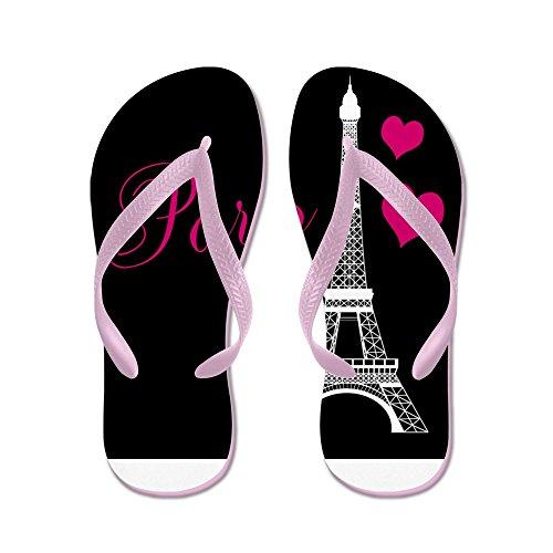 Cafepress Parigi Torre Eiffel In Nero - Infradito, Divertenti Sandali Infradito, Sandali Da Spiaggia Rosa