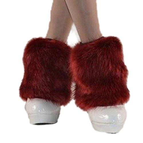 L&ZZ Women Winter Faux Fur Leg Warmers Leggings Furry Boot Cover Cuffs (Red Furry Leg Warmers)