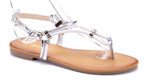 Damen Schuhe Sandalen Sandaletten Schwarz Flach Ziersteine Schuhtempel24 n7IoTX5lFy