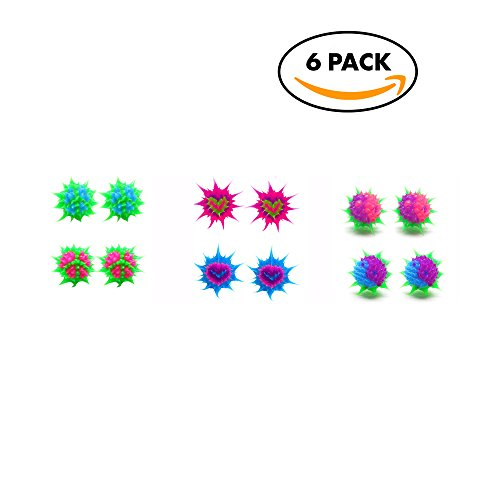 10 mm Stud Earrings for Girls Teens Tweens (6 Pack) Hypoallergenic Silicone Spiky Multicolored Rave Ball Earrings – Cute Gift Idea for Girls – Great Party Favors (Peace/Heart/Ying-Yang)