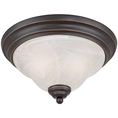 Westinghouse 6340000 Pacific Falls Two-Light Indoor Flush Ceiling Fixture, Amber Bronze Finish with White Alabaster Glass White Finish Indoor Ceiling Fixture