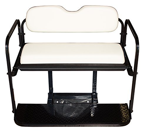 Club Car DS Golf Cart Rear Flip Folding Back Seat Kit, 1982-2000.5 - All Factory Colors ( White Cushions)