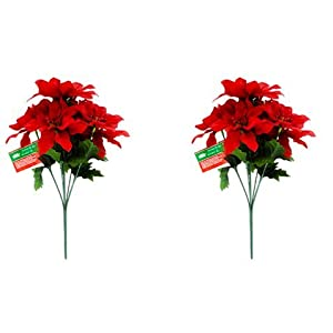 "Christmas House Poinsettia Bushes with Glittered Accents, 13"" (Pack of 2) 5"