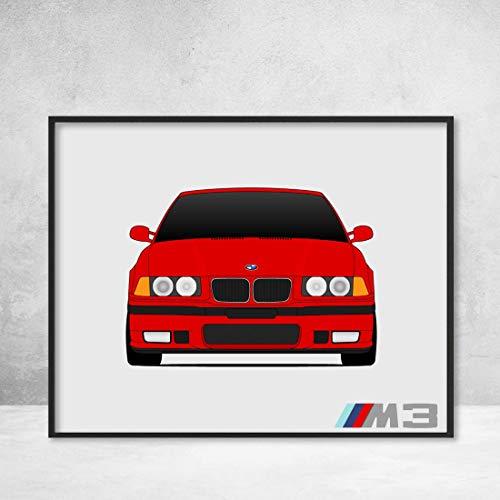 BMW M3 E36 3 Series (1992-1999) Poster Print Wall Art Decor ()