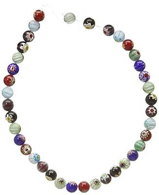 "BSI - 16"" Strand of Millefiori Flower Lampwork Glass Beads ~"