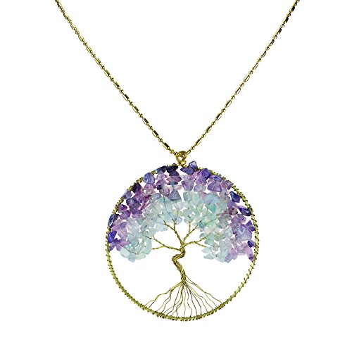 Purple Fluorite Green Quartz Stone Eternal Tree of Life Brass Necklace (Fluorite Green Necklace)