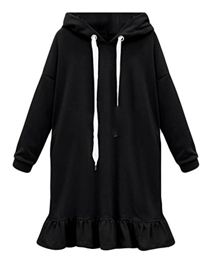 Femmes Coolred Lettre Solide Imprimé Mi Longueur Robe À Capuchon De Soirée Noire
