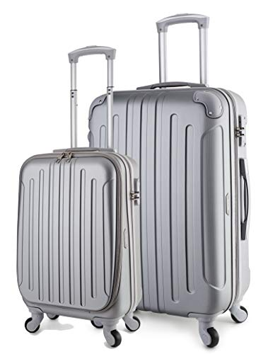 (TravelCross Victoria Luggage Lightweight Spinner Set - Silver, 2 piece (20'' / 28''))