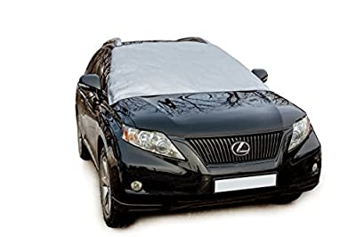HOLAUTO - All Weather Windshield Cover - Reversible Windshield Snow Cover & Sun Shade - Safe on Glass & Car Paint - Windproof Magnetic Edges Attach in Seconds - No Installation Necessary - 2 Sizes