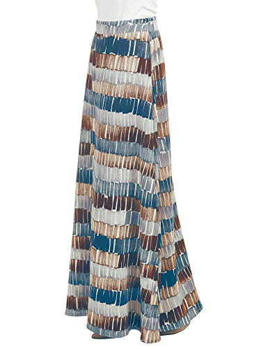 Lock and Love LL WB1448 Womens Printed Maxi Skirt with Waist Elastic Band XXXL Teal_Brown