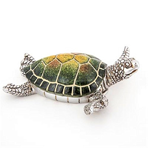 Sea Turtle Trinket Box Green Turtle with Silver Pewter Box Animal (Turtle Hinged Trinket Box)