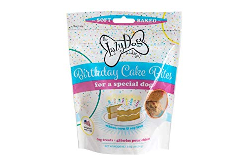The Lazy Dog Cookie Co..., Birthday Cake Bites Dog Treats, Wheat Free, Corn Free, Soy Free, Made in USA, 5 oz Resealable Pouch ()