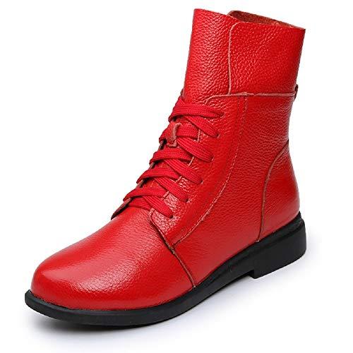 Colore Colore Dimensione Scarpe Stivali Rosso Rosso Pelle da Bianca 37 EU Martin in ZHRUI con Lacci Donna Sz4qZ