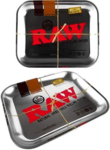 RAW - Bandejas para liar tabaco, esterillas y ceniceros Large Raw Silver Classic