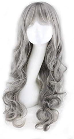 MaNano 銀灰色 長い巻き髪 耐熱高品質ウィッグ(120度) コスプレかつら 文化祭、学園祭の飾り
