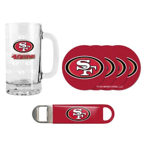 NFL Football Satin Etched Beer Mug, Bottle Opener & Coasters Set - 16 ounce Tankard Gift Set (49ers)