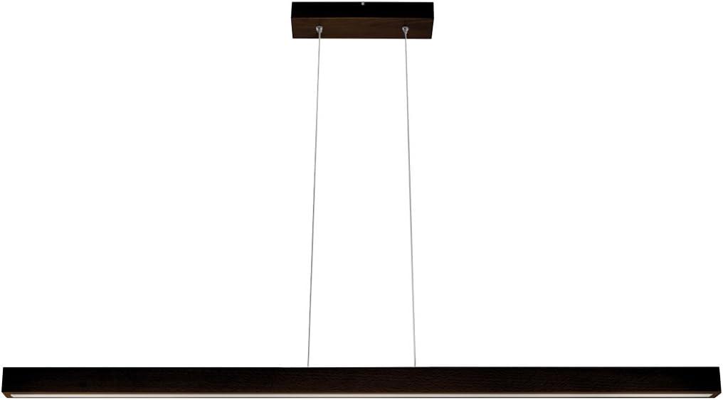 LED Hängeleuchte HausLeuchten LED120KB-3000K-SCHWARZ aus Holz 120cm 1998lm Warmweißes Licht (3000 K) Deckenlampe Deckenleuchte Pendelleuchte Leuchte Lampe (SCHWARZ - Warmweißes Licht (3000 K)) Wenge (Dunkel Braun)