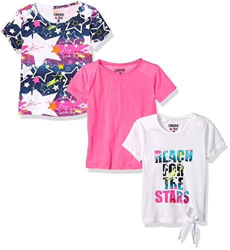 Limited Too Girls' Big 3 Pack Short Sleeve Fashion T-Shirt Set, Reach for The Stars Multi Color, 10/12