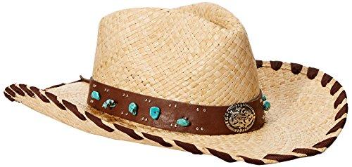 Scala Women's Pinch Front Raffia Hat, Natural, One Size