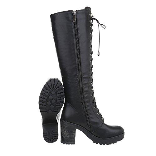 Schuhcity24 Damen Schuhe Stiefel High Heels Schnürer Modell Nr 1 Schwarz