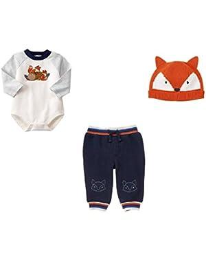 Baby Boy Fox Bundle- Bodysuit, Jogger Pants and Beanie