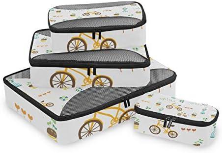 ファニーバイクホワイト荷物パッキングキューブオーガナイザートイレタリーランドリーストレージバッグポーチパックキューブ4さまざまなサイズセットトラベルキッズレディース