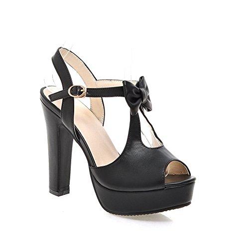 Ouvert Noir Bout AdeeSu Femme SLC04101 T7BEw