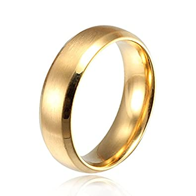 Stainless Steel Unisex 6MM Brushed Plain Simple Stainless Steel Wedding Ring Band for Men&Women, Blue/Black/Gold Mealguet Jewelry MG--R--014P