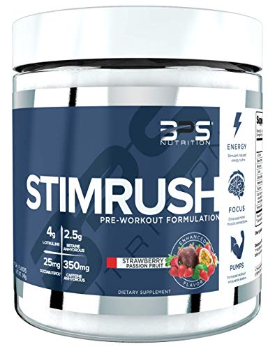 Stimrush Pre-Workout Energy Supplement Powder BPS Nutrition (Strawberry Passion Fruit)