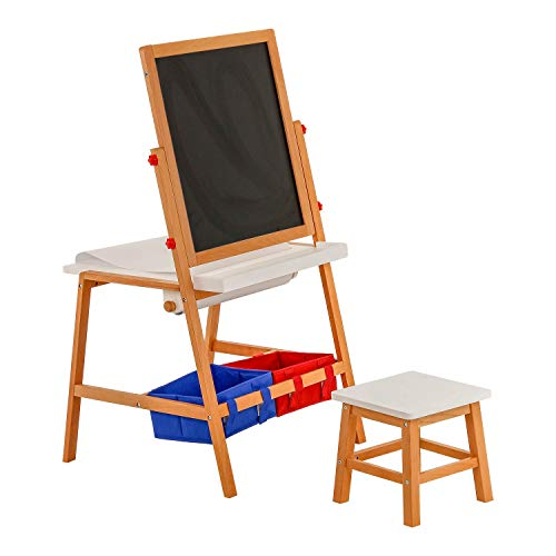 U.S. Art Supply Children's Double-Sided Art Activity Flip Easel Board with Chalkboard, Magnetic Dry Erase Board, Desk, Paper Roll, Storage Bins, Stool - Kids Toddlers Learn to Paint, Draw, Write, Fun ()