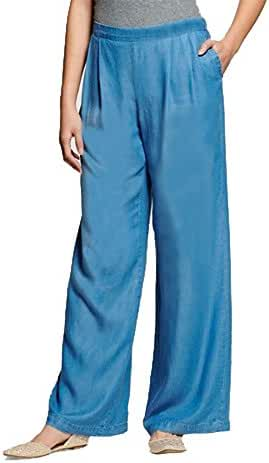Women's Soft Chambray Denim Look Pants- Mid Rise Relaxed Fit-Wide Leg