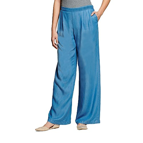 Wide Jeans Mid Leg Rise (Women's Soft Chambray Denim Pants- Mid Rise Relaxed Fit-Wide Leg (Medium))