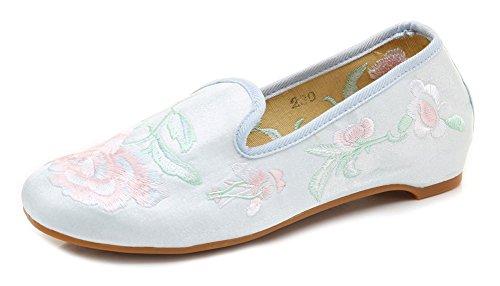 Avacostume Femmes Broderie Florale Hanfu Chaussures De Danse Bleu Clair