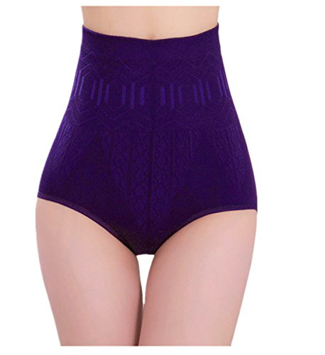 (Women's Shapewear Hi-Waist Brief Firm Tummy Control Seamless Strapless Panty Briefs Bodysuit (Purple))