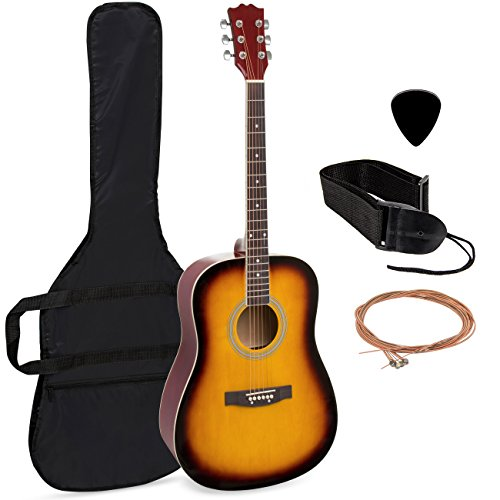 Best Choice Products 41in Full Size All-Wood Acoustic Guitar Starter Kit w/Case, Pick, Shoulder Strap, Extra Strings - Sunburst (Tacoma Acoustic Guitar)
