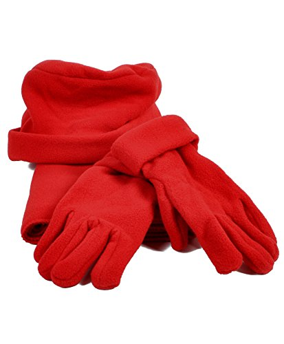 Solid Color Polyester 3 Piece Fleece Hat, Scarf & Glove Womens Winter Set (Red)