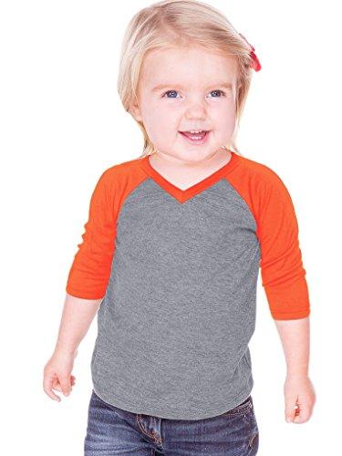 (Kavio! Unisex Infants Sheer Jersey Contrast V Neck Raglan 3/4 Sleeve Dark H.Gray/V.Orange 18M )
