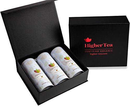 Sampler Tea Tin Gift Set By Higher Tea (3 Pack) Rose, Matcha, Jasmine - Cooling, Calming Tea for Menopause Relief, Hot Flashes, Night Sweats, - Gift Set Energy