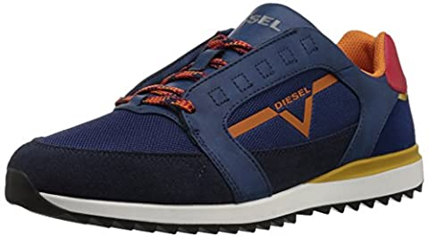 Diesel Men's V-Staffetta S-Fleett Sneaker, Estate Blue/Burnt Orange/Harvest Gold, 10.5 M US (Men Diesel Top)