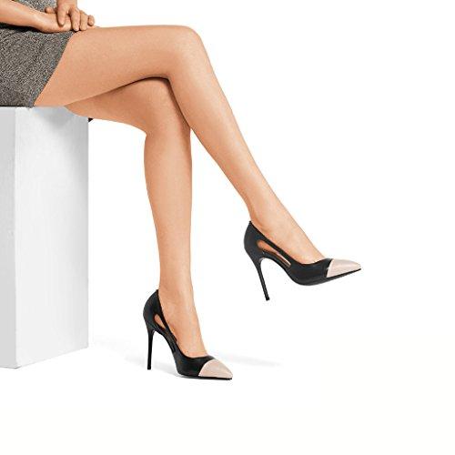 Para Calzado Lateral Fino de Alto 5cm Mujer Aire con Tacón 10 Mujer Zapatos Negro DE Wysm nwx71qHtTq