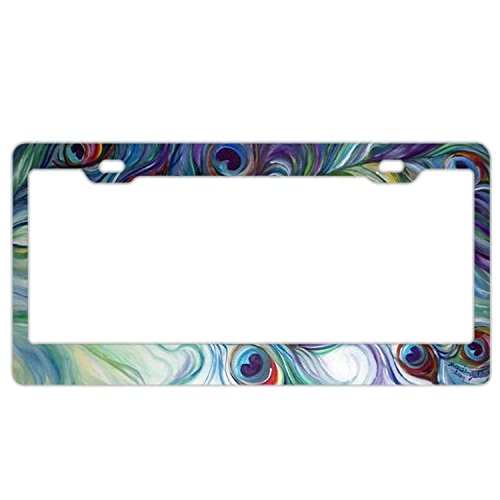 (YEX Abstract Tie Dye Peacock Feather License Plate Frame Car Tag Frame Auto License Plate Holder 12