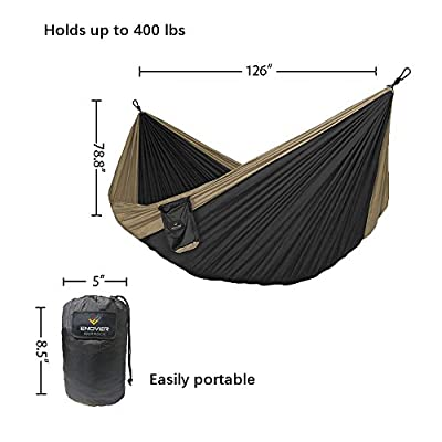 "Enover Portable Double Tree Parachute Backpacking & Camping Hammock, Breathable Waterproof Nylon, 400lbs / 10'6"" X 6'6"", for Outdoor Recreation"